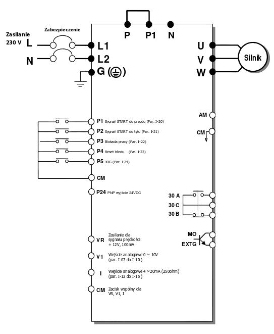 Schemat falownikia LG iC5 - praca z nastawami fabrycznymi
