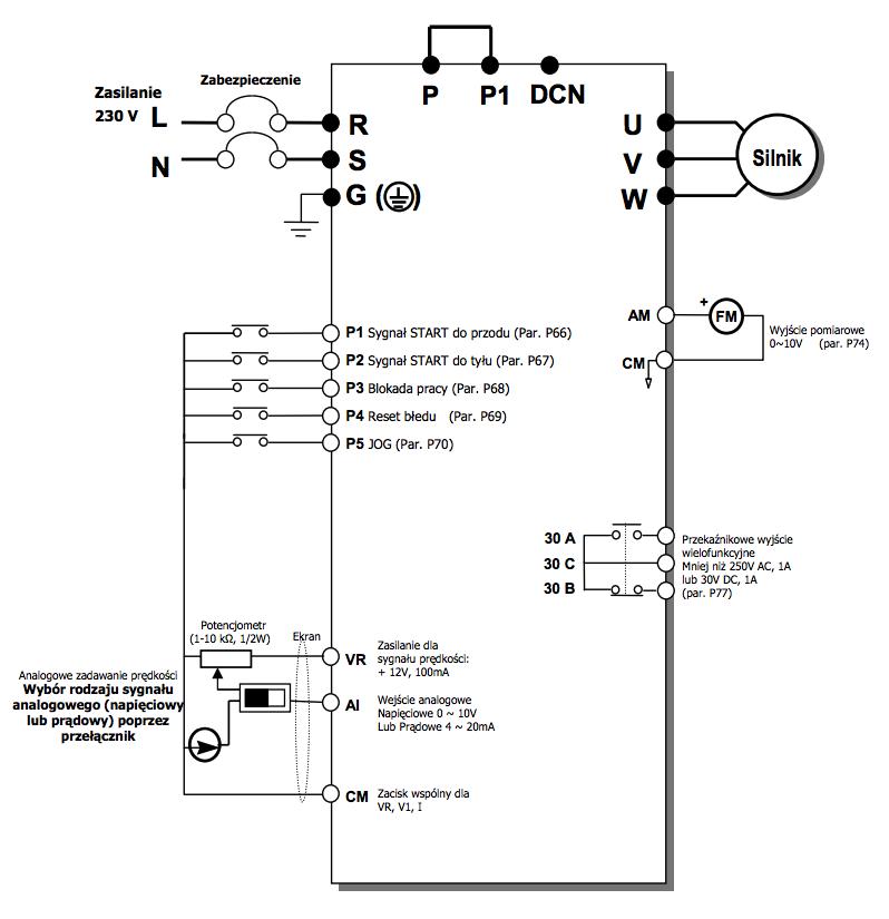 Schemat falownikia LG iE5 - praca z nastawami fabrycznymi