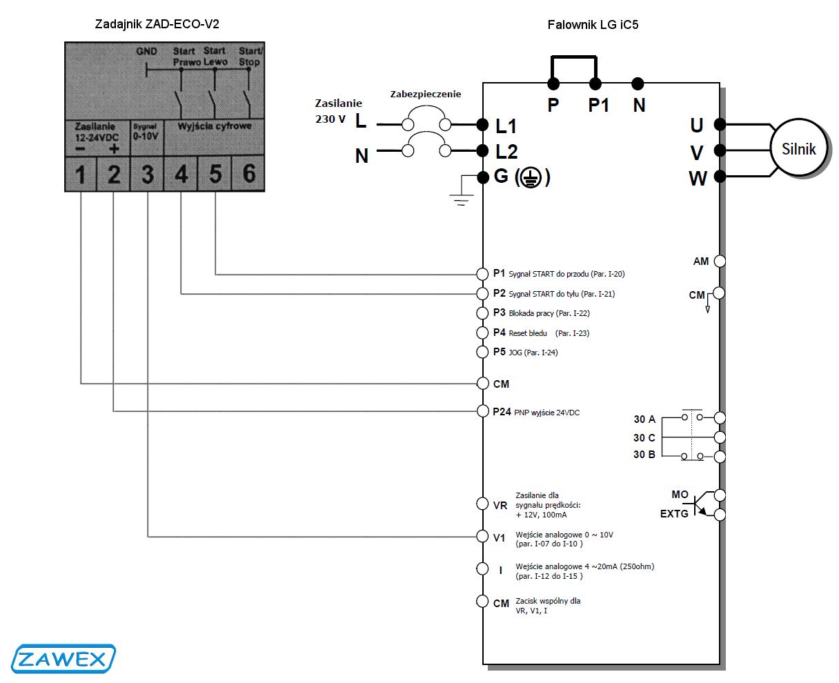 Schemat połączenia Zadanika ZAD-ECO-V2 z falownikiem LG iC5
